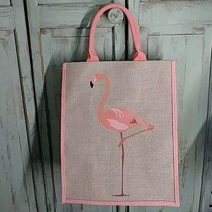 Flamingo burlap large tote bag beach bag